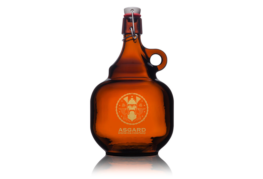 Growler branded with the Asgard logo