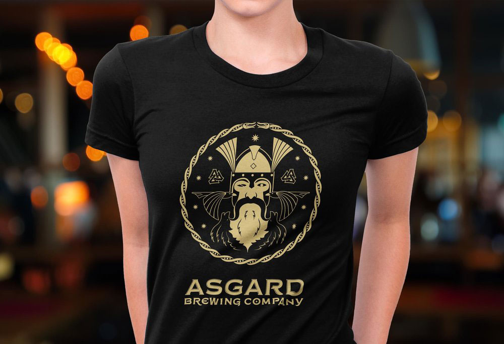 Asgard logo on a black shirt