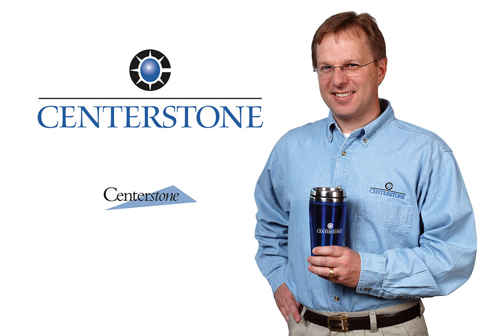 Centerstone logo (old and new) and branded shirt and cup