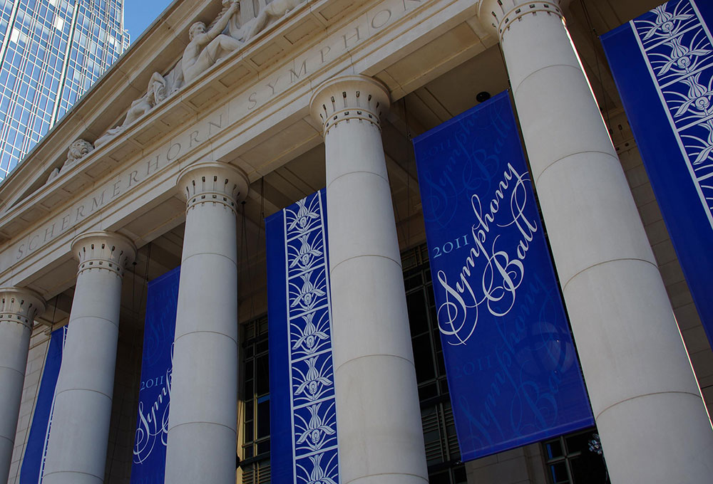 Banners hanging at the Schermerhorn